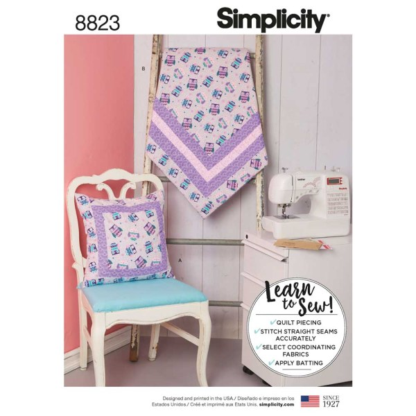 8823 simplicity learn to sew quilt blanket pattern 8823 a envelope