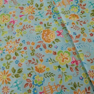 blue flower burst cotton fabric