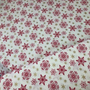 red snow flake cotton fabric
