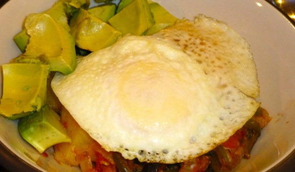 Spanish-style-breakfast-casserole with avocado