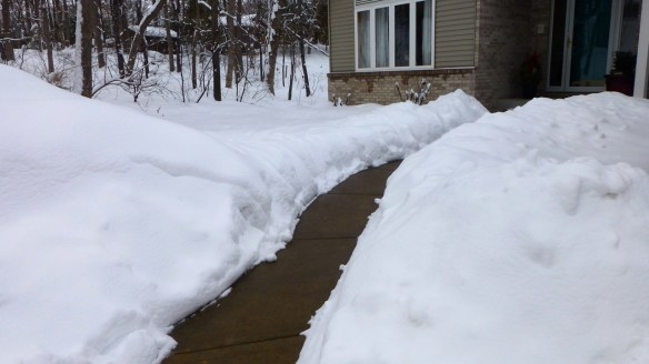 Front Walkway and Snow banks