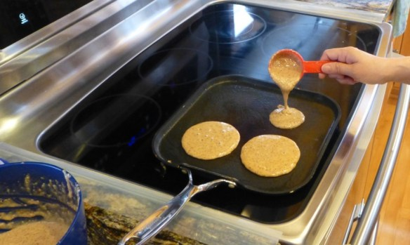 Use 1/4 cup batter for each pancake