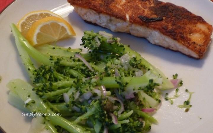 Coriander Salmon with Caper Broccolini