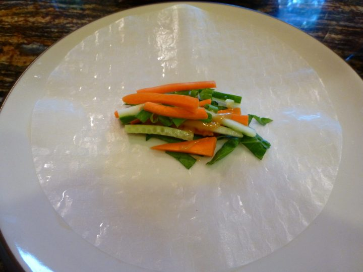 Filling the Rice Paper with Veggies