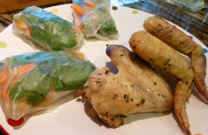 Paleo Fresh Spring Rolls with Baked Chicken Wings