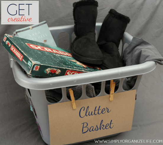 Full Clutter Basket - Quick Declutter - Simply Organize Life