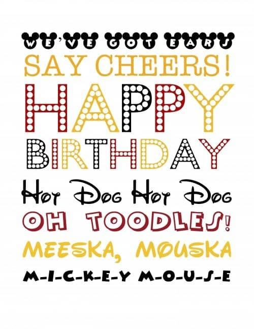 Mickey Subway Art from Simply Real Moms via Mandy's Party Printables
