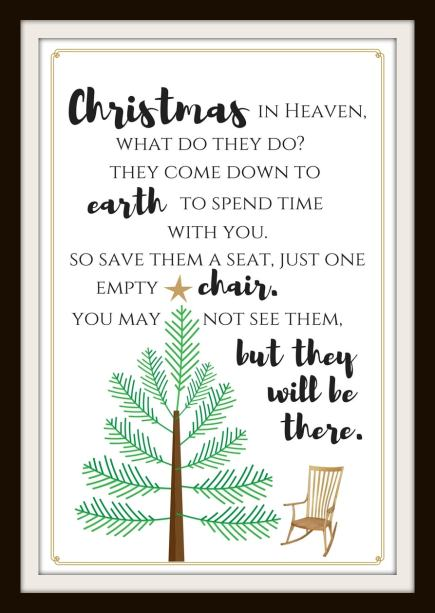 christmas in heaven free printable, christmas in heaven, free printable, printable, christmas, heaven, christmas tradition, family one in heaven at christmas, loved one in heaven during the holidays, you may not see them but they will be there, chair