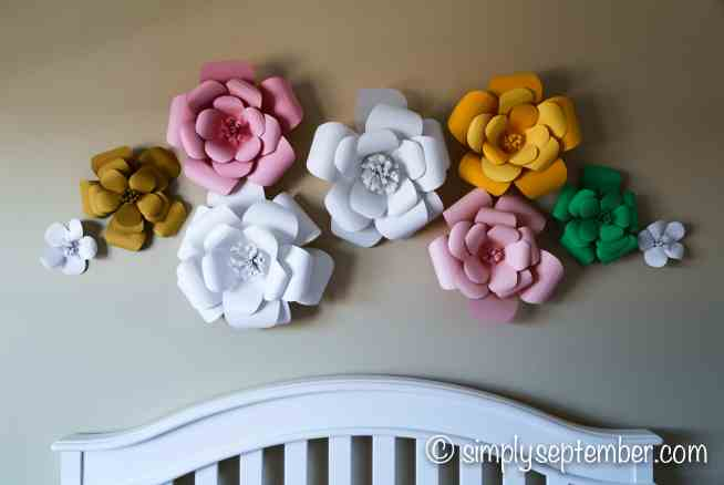 designing a nursery with paper flowers, nursery, decorating nursery, girl's nursery, paper flowers, flower nursery, floral nursery, baby girl, baby, baby girl's nursery, creative nursery