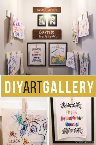 diy art gallery, art gallery, gallery, declutter, kid art projects, art projects, display art projects, family art gallery, family display, little artists, kid artists