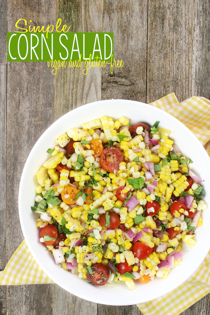 Simple Corn Salad with cherry tomatoes and fresh basil is simple to make, requiring just 1 bowl and 6 ingredients. Tender corn, juicy tomatoes and red onion dressed in a tangy homemade vinaigrette to create Summer side dish perfection.