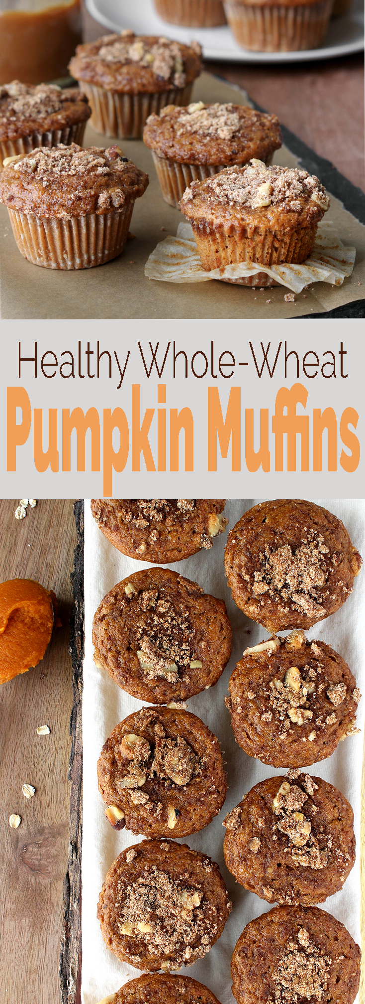 One bowl Whole Grain Pumpkin Muffins with a secret healthy ingredient: yogurt! Healthy, easy to make and seriously satisfying.