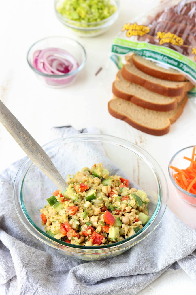Easy Chickpea Salad is simple to make, requiring just 10 minutes hand on prep and NO cooking. Loads of protein and veggies make this a perfect plant-based lunch option.