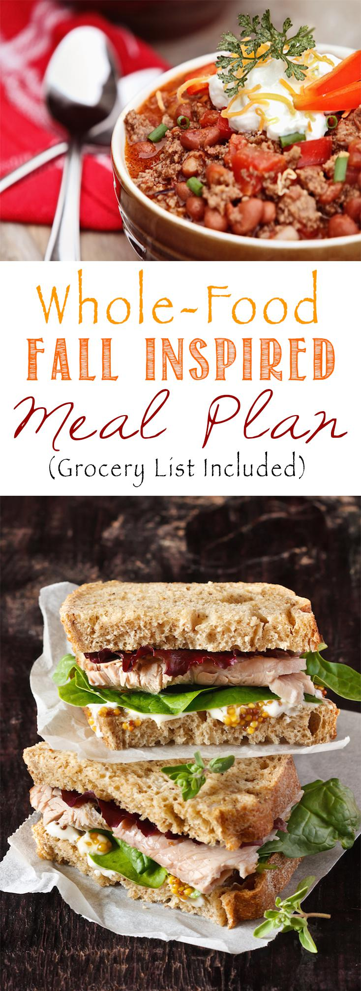 Everything you need to make 5 healthy whole-food meals. Menu, recipes, and grocery list included!