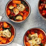 This Thick and Chunky Vegetable Soup is theperfecthealthy lunch on a chilly Fall day. Fresh veggies, an assortment of spices, garlic, and chicken broth come together to create a soup that is nutrient dense andsatisfyingly filling.