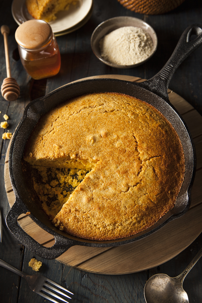 Homemade Southern Style Cornbread in a Skillet
