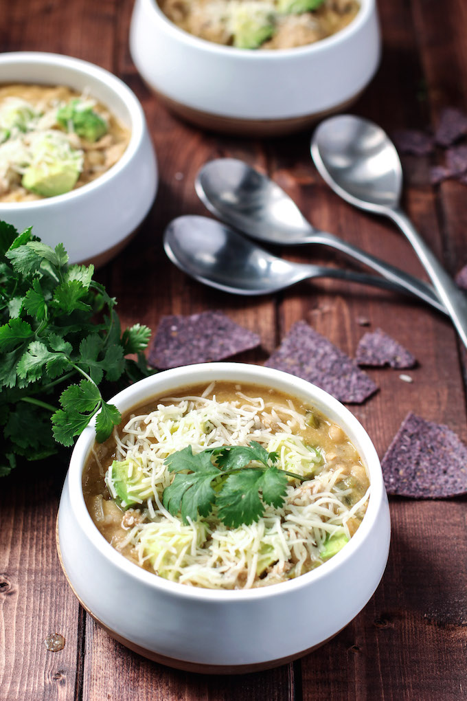 White Bean Turkey Chili - This whole-food white bean turkey chili is just right for Fall weather and football games!!