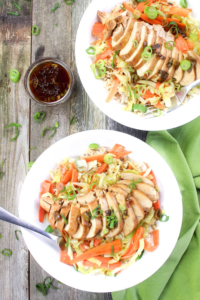 Honey Bourbon Chicken Bowls are made with simple ingredients and require very little prep. Fresh Spring veggies and fluffy brown rice compliment the sweet and sticky bourbon-glazed chicken perfectly.