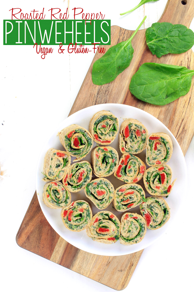 Delicious, vegan friendly Roasted-Red Pepper Italian Pinwheels come together in 15 minutes with 9 ingredients. It's the perfect crowd-pleasing summer appetizer. #vegan #glutenfree #plantbased #wholefood