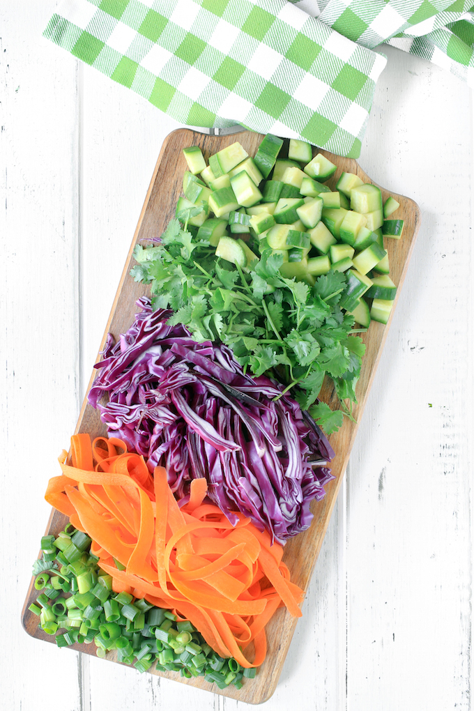 20 minute Asian Noodle Salad with rice noodles, fresh veggies, and crunchy peanuts. A flavorful, healthy, satisfying plant-based side dish.