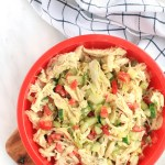 Healthy Chicken Salad.. all of the flavor, less of the mayo! Seasoned chicken, fresh herbs and a simple yogurt-based dressing.