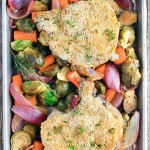 3 Ingredient Sheet Pan Pork Chops with Harvest Veggies is a healthy whole-food meal featuring roasted fall veggies tossed in a simple honey-dijon balsamic dressing.