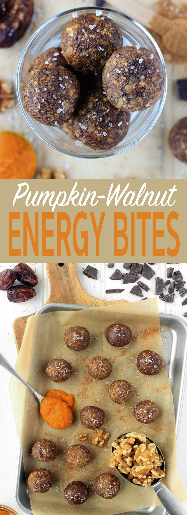 Easy no-bake, 6-ingredient pumpkin walnut energy bites made with real food ingredients like walnuts, dates and pumpkin. #freezable #makeahead #vegan #glutenfree