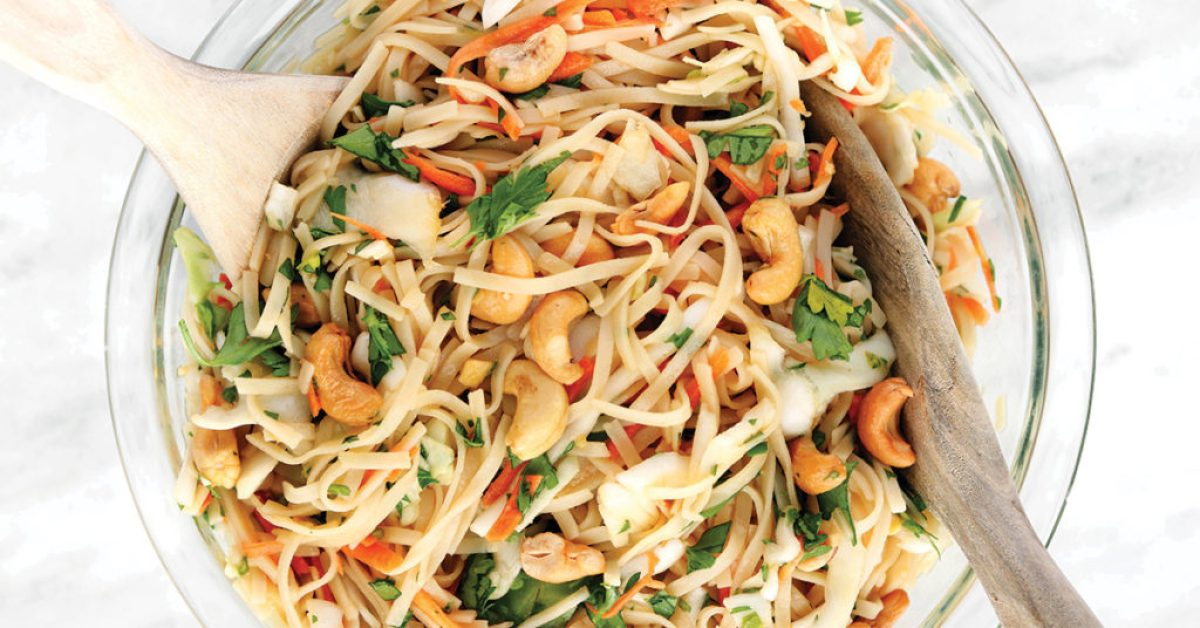 Asian Rice Noodle Salad - quick and simple recipe from the new 100 Days of Real Food: Fast and Fabulous cookbook.