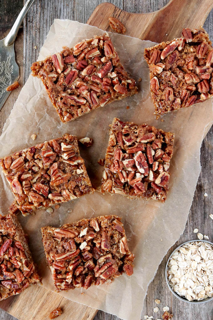 Simple Pecan Pie Slabs are ridiculously simple to make. Whole-Food Friendly, gluten-free, and loaded with crunchy nuts. A fun twist on a classic Southern staple.