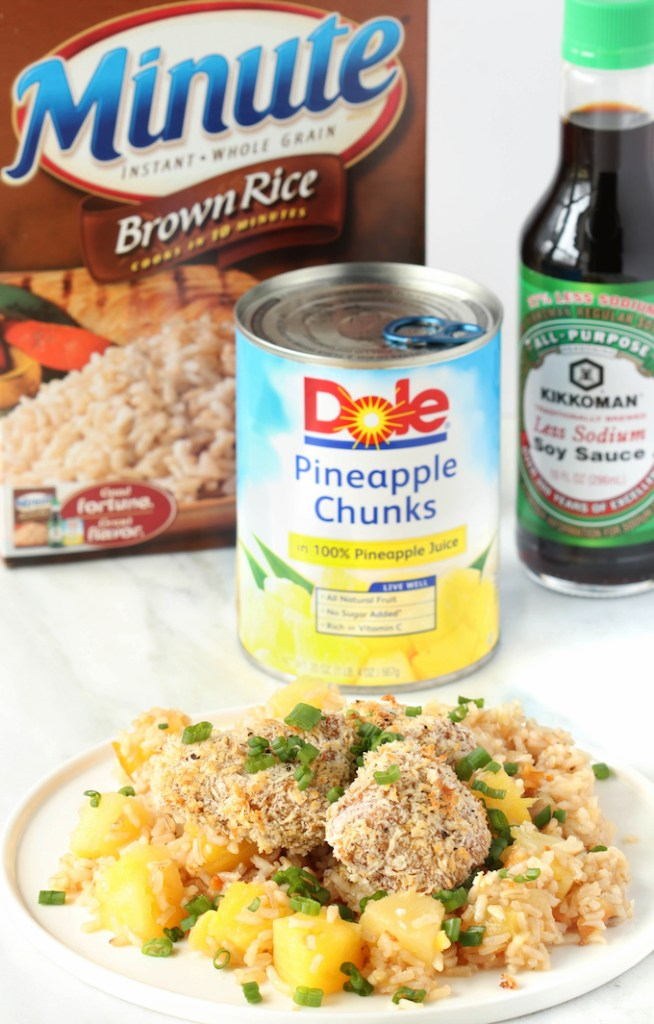 30-Minute Crispy Orange Chicken Rice Bowls with basic ingredients, Hearty and flavorful with marinated chicken coated in Crispy Panko atop sweet pineapple and soy sauce infused brown rice.