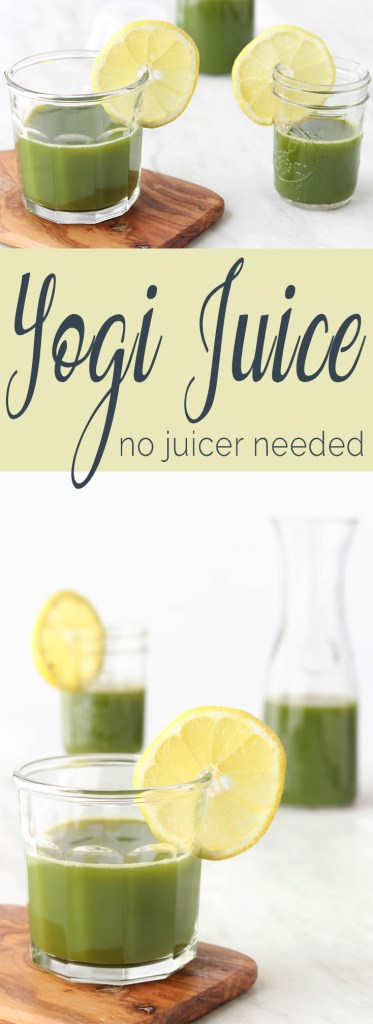 Green Yogi Juice is a tangy, sweet juice with a hint of ginger and a mild fruity flavor. Now, you can juice without a juicer!