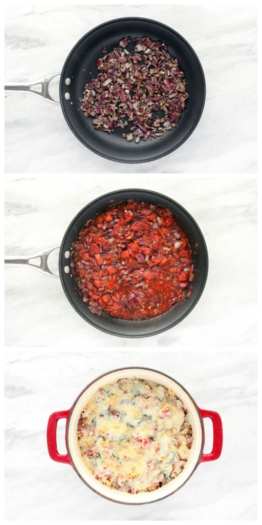 30- Minute Sausage Spinach Rotini Bake with caramelized onion, whole wheat pasta, perfectly seasoned fire roasted tomatoes and a golden cheese topping. Green, delicious, fresh and healthy!