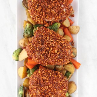 Sheet Pan Pecan Crusted Pork Chops With Honey Balsamic Veggies