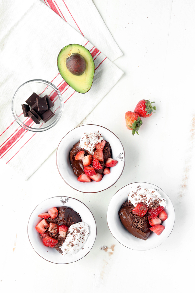 Simple, 10-Ingredient Chocolate Avocado Pudding that's naturally sweetened, plant-based and so thick and creamy.