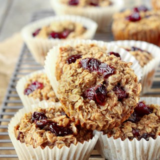 Quick, 10-Ingredient Cherry + Vanilla Baked Oatmeal Cups are naturally sweetened, wholesome and the perfect grab-n'go breakfast option for busy mornings.