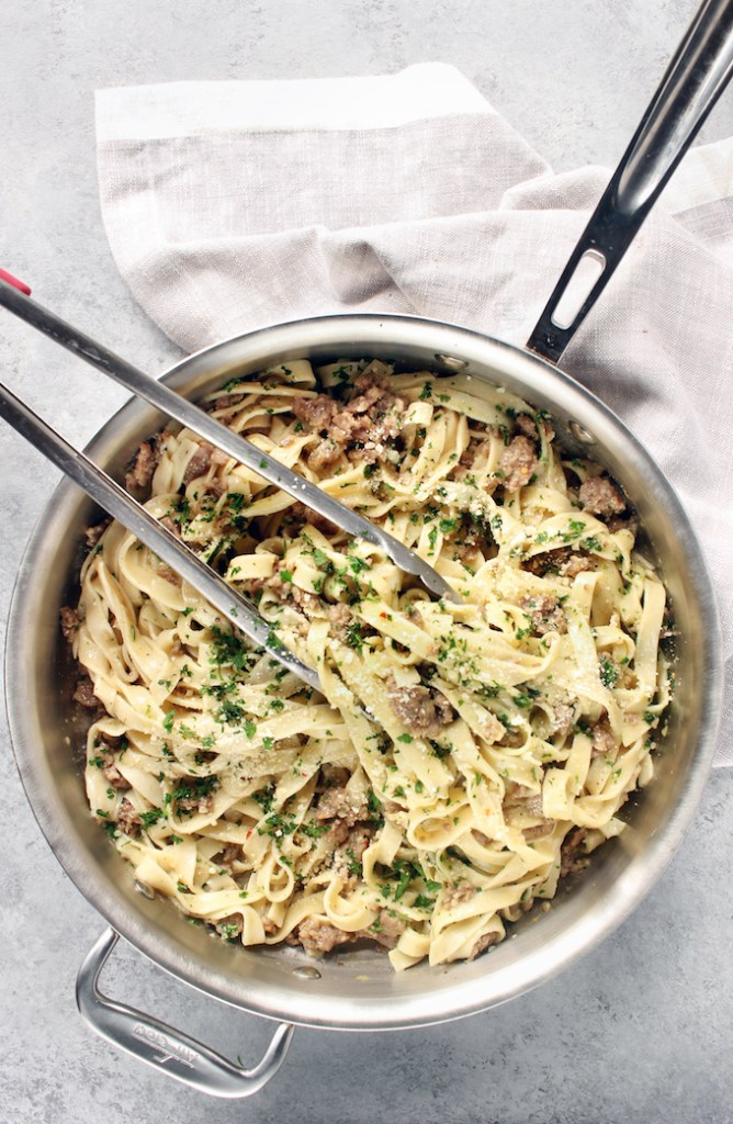 20-Minute Sausage Carbonara - a simple weeknight pasta that requires 6 basic ingredients. A delicious whole-food meal.