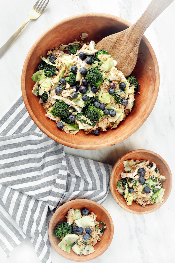 Warm Greens and Grain Salad in Bowl