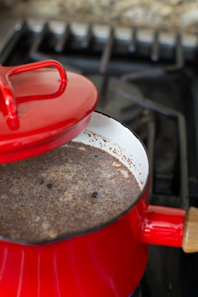 Milk and spices in red pan on cooktop