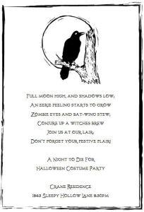 Halloween stamp invitation poem