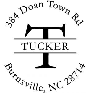 tucker round address stamp