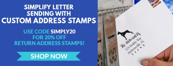 Get 20% Off with Code SIMPLY20, Custom Doberman Return Address Stamp on Envelope