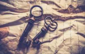 vintage letter and keys