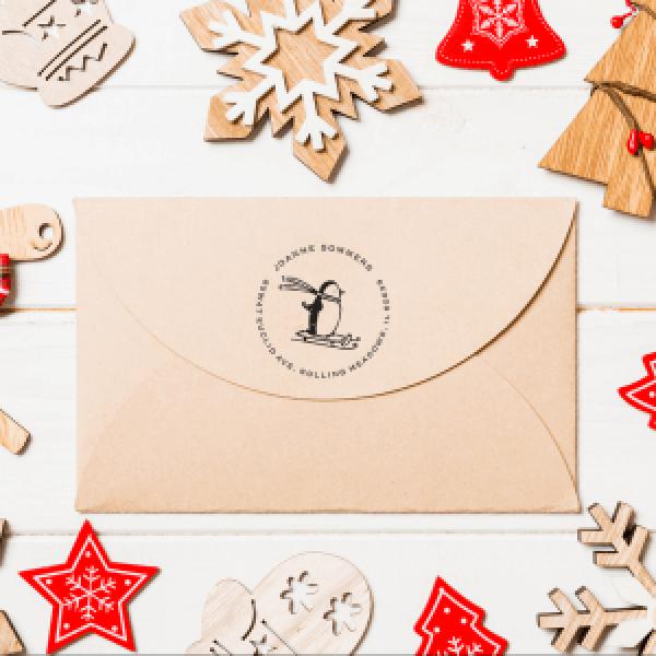 penguin address stamp on holiday envelope