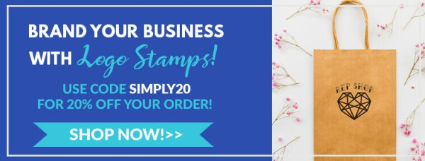 brand your business with logo stamps, use code simply20 for 20% off your order