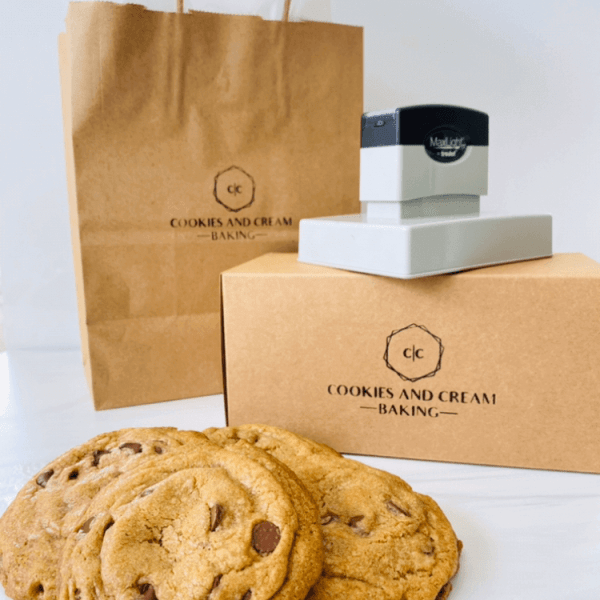 cookies and cream baking custom stamp on bags and product box