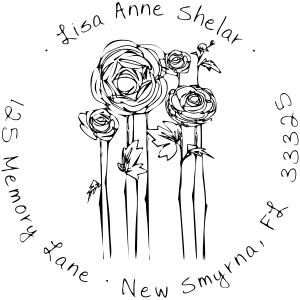 flowers sketch address stamp