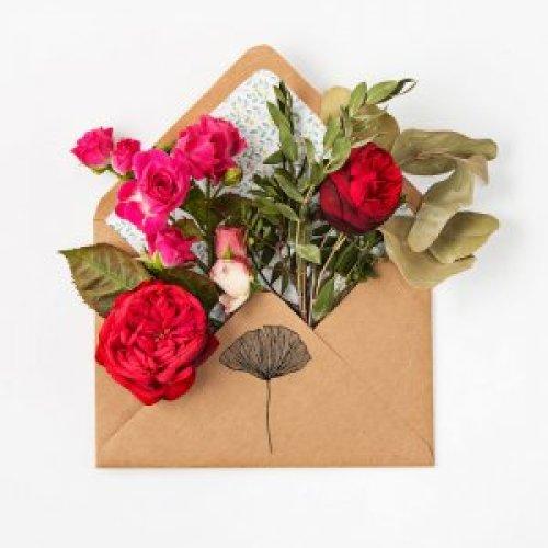 botanical flower stamp on envelope