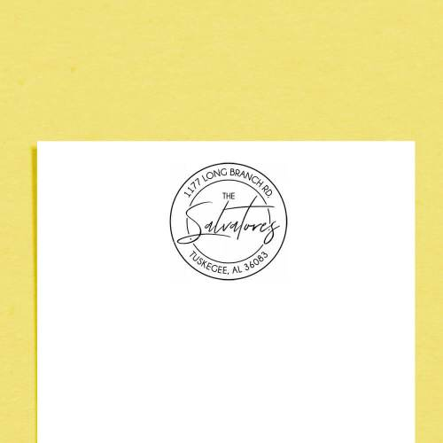 personalized address stamp on stationery