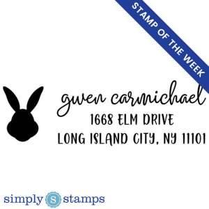 custom bunny rabbit return address stamp, stamp of the week