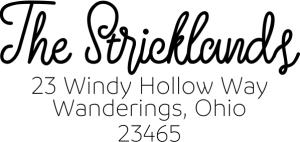 Custom strickland script return address stamp